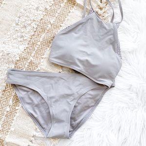 Aerie Halter Lace Trim Bikini Top + Bottom